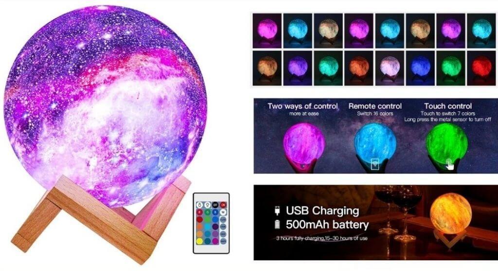 BRIGHT WORLD Moon Lamp Kids Night Light Galaxy Review